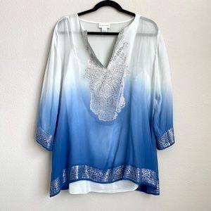 Soft Surroundings Silk Blue Ombre Shimmer Blouse